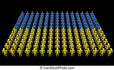 people in colours of Ukraine flag illustration