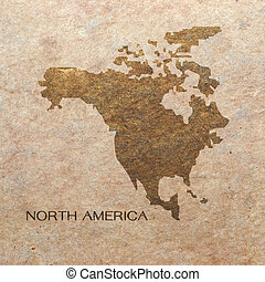 continent of north america on old paper