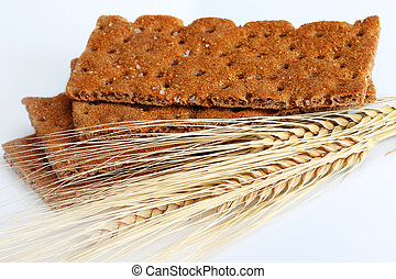 Dry diet crisp breads with oats spikelets