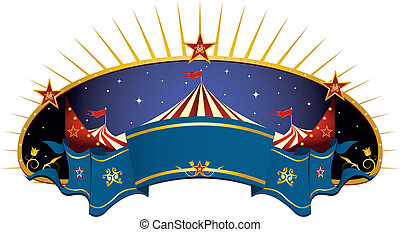 circus blue banner - A circus frame with a big top and a...