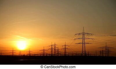 Sunset and Energy - Power Poles And Sunset