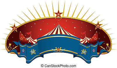 circus red banner - A circus frame with a big top and a...