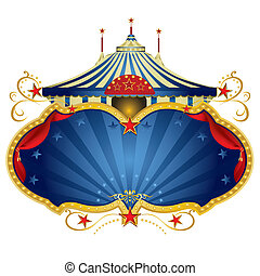 Magic blue circus frame - A circus frame with a big top and...