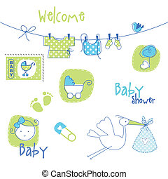 Baby shower design elements - Cute design elements