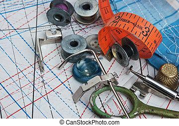 still life of spools of thread - still life various sewing...