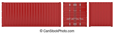 Cargo container - 3d render of red cargo container sides on...