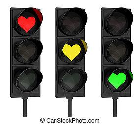 Heart traffic lights