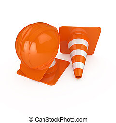 Road warning cone and helmet