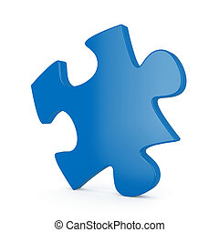 Single puzzle - 3d render of blue single puzzle on white...