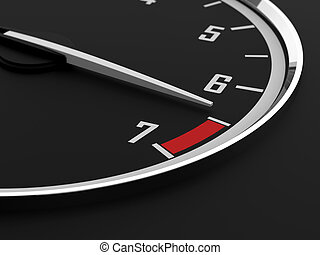 Tachometer - 3d render of tachometer on maximum level