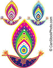 Indian oil lamp- culture art pattern design