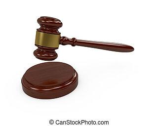 Judge gavel - 3d render of wooden judge gavel on white...