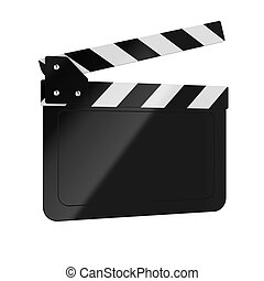 Clapper board - 3d render of movie clapper board on white...