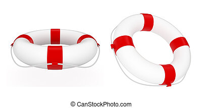 Lifebuoy - 3d render of red and white life belt isolated on...