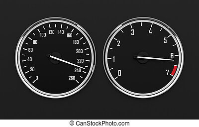 Speedometr and tachometer - 3d render of tachometer and...