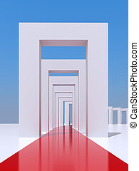 Tunnel - 3D rendering red strip of carpet in the middle of a...