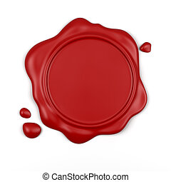 Red wax seal - 3d render of high resolution red wax seal...
