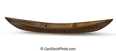 wooden canoe isolated on white background. 3d rendered image