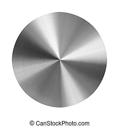 turned metal disc - brushed metal disc on isolated white...