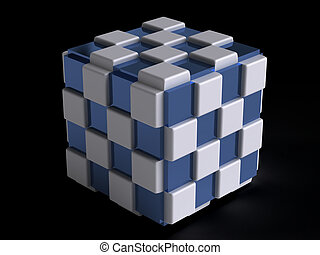 blue and white cube