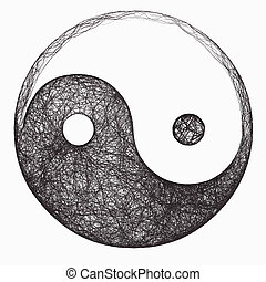 Yin Yang Symbol - computer generated black and white yin...