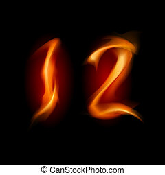 Numbers One and Two - Two alphabet symbol of fire - numbers...