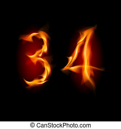 Numbers three and four - Two alphabet symbol of fire -...