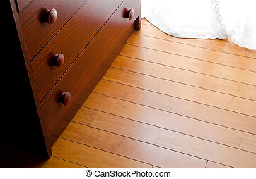 Wooden floor and chest