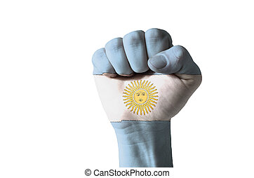 Fist painted in colors of argentina flag - Low key picture...