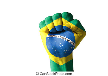 Fist painted in colors of brazil flag - Low key picture of a...