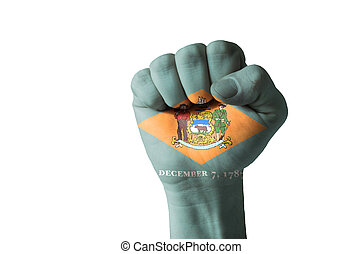 Fist painted in colors of us state of delaware flag - Low...