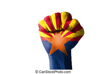 Fist painted in colors of us state of arizona flag - Low key...