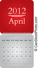 monthly calendar for 2012, April