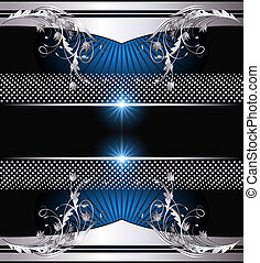 Background with silver ornament - Background with glowing...