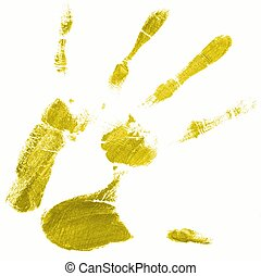 hand print with yellow color