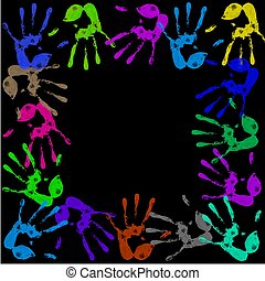 painted handprints - a lot of colorful hand prints on black...