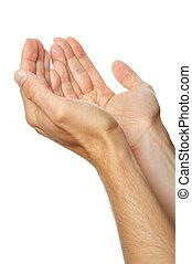 praying hands of a man isolated on white background