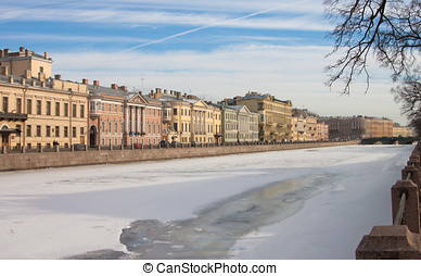 Photo Fontanka Embankment - frozen water in the river...
