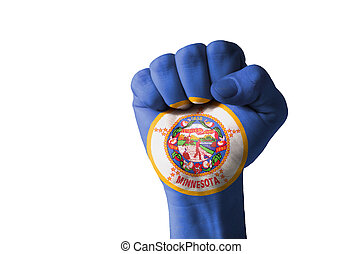 Fist painted in colors of us state of minnesota flag - Low...