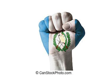 puño, pintado, colores, guatemala, bandera