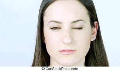 Beautiful female model thinking sad