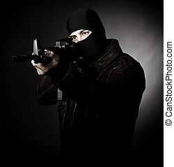 criminal with rifle