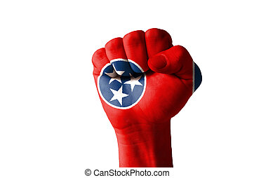 Fist painted in colors of us state of tennessee flag - Low...