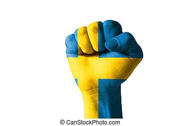 puño, pintado, colores, Suecia, bandera