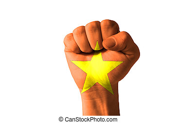 Fist painted in colors of vietnam flag - Low key picture of...
