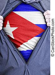 Cuban Businessman - A Cuban businessman rips open his shirt...