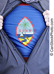 Guam Businessman - A Guam businessman rips open his shirt...