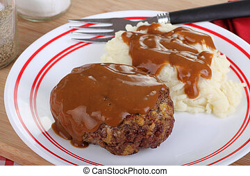 Salisbury Steak - Salisbury steak with mash potatoes and...