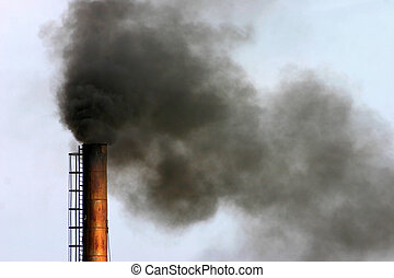 industrial air pollution - Air pollution - smoke billowing...