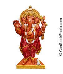 Elephant god ,Hindu,on white background